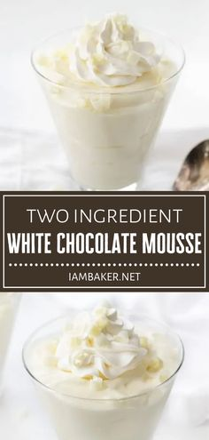You only need a few minutes to whip up this elegant treat! Two-Ingredient White Chocolate Mousse couldn't be any easier to make. Savor every rich and decadent bite of this smooth and creamy white chocolate dessert topped with whipped cream and white chocolate curls!