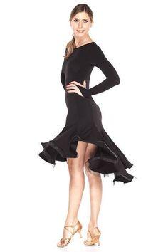This black latin dress features flare skirt with crinoline edging, built-in underwear, stretch fabric. Designer ballroom dance dresses.