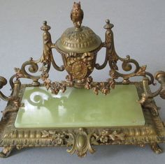 Antique 19thC FRENCH Gilt Bronze INKWELL + Pen Stand ROSE SWAGS Owl Finial BOW +