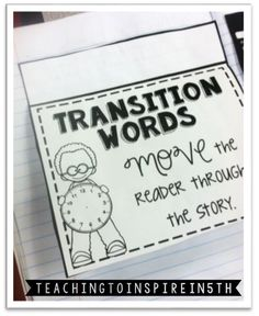 Transition Words {Interactive Notebook} Freebie! - Teaching to Inspire with Jennifer Findley