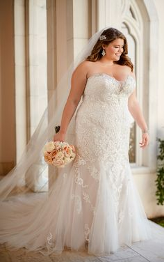 Wedding Dresses Lace Fishtail 6502 Plus Size Vintage Lace Wedding Dress by Stella York.Wedding Dresses Lace Fishtail 6502 Plus Size Vintage Lace Wedding Dress by Stella York Lace Back Wedding Dress, Best Wedding Dresses, Designer Wedding Dresses, Dress Lace, Lace Gowns, Prom Dresses, Tulle Gown, Modest Wedding, Trendy Wedding