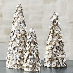 perfect christmas trees for a beach house! Oyster Shell Topiary