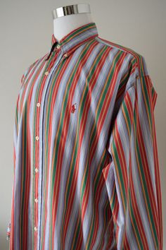 RALPH LAUREN Men's Blake Shirt Multi-Color Striped L/Sleeve 100% Cotton Size XL #RalphLauren #ButtonDown