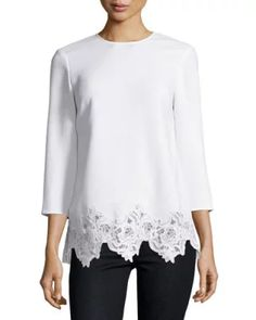 TDCB2 Elizabeth and James Florence 3/4-Sleeve Lace-Trim Crepe Top, Ivory