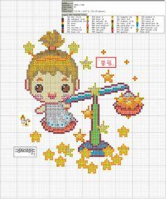 Zodiac Baby Libra Cross Stitch Pattern 2/2