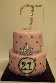 Happy 21st Birthday - Tiered cake for a lady who just loves the bling.