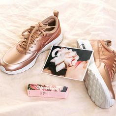 Cannot get enough of this #RoseGold collection by #Nike :: Reminder: our girl @kirstygodso teaching at 5:30pm tonight & stop by and shop the collection to receive your *free* @glossier rose balm dotcom! ✨👟