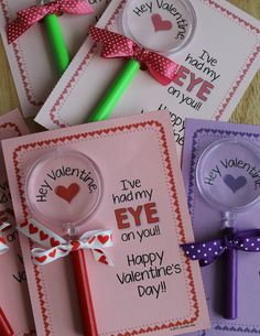 DIY magnifying glass Valentine's Day cards. A great non-candy Valentine idea.