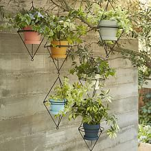 The diamond shape and black finish of the Hanging Wire Pot Bracket perfectly complements the planter you pair it with. Coordinates with west elm's Chalkboard Planters (sold separately). Hanging Planters, Planter Pots, Hanging Wire, Wall Planters, Hanging Flowers, Diy Hanging, Outdoor Planters, Outdoor Gardens, Stone Planters