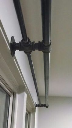 Industrial black pipe double curtain rod