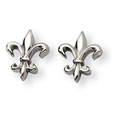 Zales 1/8 CT. T.w. Diamond Fleur-de-Lis Earrings in Sterling Silver UcjxuJHvOT