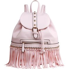 Mkf Collection Monica Elegant  Fringed  Backpack ($36) ❤ liked on Polyvore featuring bags, backpacks, pink, vegan leather backpack, mkf collection, vegan backpack, day pack backpack and vegan leather bags