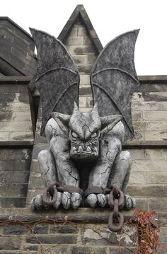 """Eastern State Penitentiary's Gargoyles Carson (pictured) & Frank have returned every halloween since 2005 to guard Philadelphia's most fearsome haunted experience, """"Terror Behind The Walls."""" They are 6 feet tall & weigh 300 pounds each."""