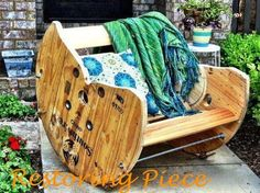 We are rockin' and rollin' in our handcrafted rockers repurposed from old wooden spools!