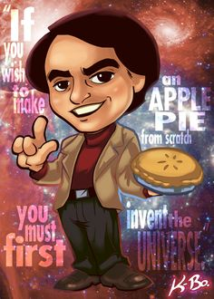These cards from Kevin Bolk bring some sass to our favorite astrophysicists… but maybe there's a simpler way to make an apple pie. Sorry Carl Sagan!