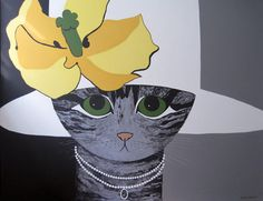"Maggie Meredith Oil on Canvas ""Green Eyed Cat"", signed lower right Maggie Meredith  34 in. x 42 in."