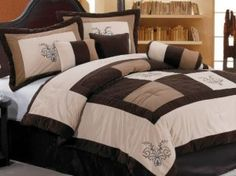 Chezmoi Collection 7-Piece Coffee Quilted Patchwork Comforter Set, King, Aqua Blue/Sage Green