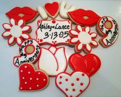 Happy Anniversary - Decorated Sugar Cookies by I Am The Cookie Lady