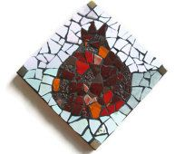 Pomegranate , Wall Art Hanging , Mosaic Wall art , Rosh Hashana, Jewish New Year , Ceramic Mosaic , Red Tiles , Wall Mount Art