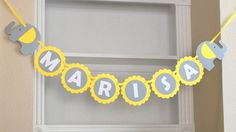 Baby Shower Party set, Grey and Yellow  Baby Shower elephant party set , banner, centerpiece, cupcake toppers and more A461