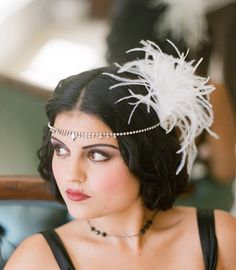Veils Inspiration: 1920s, fascinator, feathers, flapper, forehead band, gatsby, hair accessory, hairpiece, halo, head band, headpiece, ivory, rhinestones, white, , hair, accessories, headpieces, headband