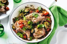 Yummy winter goodness, cherry tomatoes, zucchini and lentils, plus pork cutlets is the shining star in this quick meal idea.