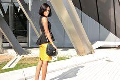 Mustard Pencil Skirt and Peplum