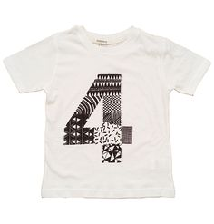 Four To The Floor Number – Doodle By Numbers 4 T-Shirt £10.80 Wear your age with PRIDE! Four To The Floor reproduces collaged doodles, hand-drawn by the Runaway gang. The doodled number is printed in black on white tees. And for super easy birthday gift shopping, each tee comes with a free hand screenprinted number card! Perfect! This item is sized 4-5 years.