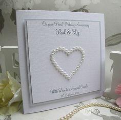 Pearl Wedding Anniversary Card - Handmade, Personalised - Pearl Heart