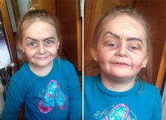 Girl Aged Three With 'Old Lady Make-Up Job' Sweeps The Internet - Yahoo News