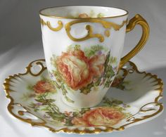 RARE NUMBERED HAVILAND LIMOGES CHRISTMAS ROSE CHOCOLATE CUP & SAUCER | eBay