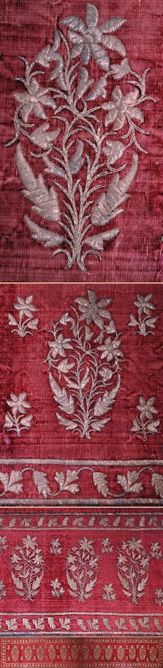 Antique Indian Textile. Silver Embroidery on Silk Velvet Panel Early Mughal Dynasty 1526-1857A.D  Circa 1700
