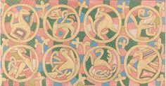 """53. broderie du """"Casula"""" de Maaseik (motifs de médaillons) Maaseik Embroideries Helbig, Jules / 1821 - 1906 Liège[localité], Musée d'art religieux et d'art mosan dessin"""