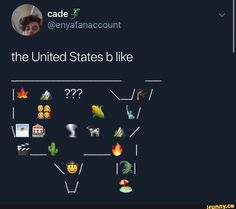 An emoji map of the United States (North America, United States) Stupid Funny Memes, Funny Relatable Memes, Funny Tweets, Funny Posts, The Funny, Funny Quotes, Hilarious, Satire, Lol