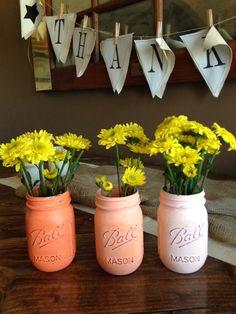 Ombre Orange mason jars by PaintedOlives on Etsy