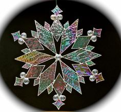 stained glass snowflakes | stained glass snowflake suncatcher design 18 by bitsandglassart
