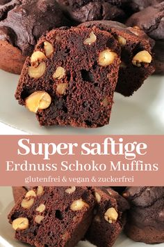 Saftige Erdnuss Schoko MuffinsThanks for this post.These delicious juicy peanut chocolate muffins are simply prepared. They are vegan, gluten-free, sugar-free and you created them in no time. A recipe full of love for your self-l# Chocolate Dessert Simple, Kid Desserts, Healthy Breakfast Recipes, Summer Desserts, Cookie Dough Vegan, Muffins Sains, Low Carb Recipes, Vegan Recipes, Flour Recipes