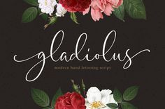 Ad: Gladiolus - Modern Calligraphy by Letterhend Studio on Introducing, Gladiolus, a beautiful modern calligraphy typeface. The swirls and swashes will make your project with feminine theme looks Fancy Script Font, Script Fonts, All Fonts, Handwritten Fonts, Calligraphy Fonts, Modern Calligraphy, Typography Fonts, Stylish Fonts, Elegant Fonts
