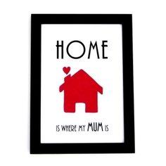 Mothers Day Print - Home is where my mum is - Handmade Art Print - süße Geschenkidee zum Muttertag
