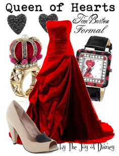 Formal outfit inspired by the Queen of Hearts from the Tim Burton version of Alice in Wonderland!