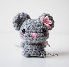 Baby Gray Mouse  Kawaii Mini Amigurumi Plush by twistyfishies, $16.00