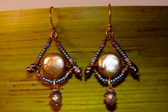 Sun Rise Pearl Earrings by alccreations on Etsy, $47.00