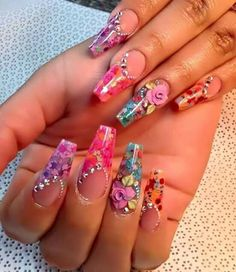 - Best ideas for decoration and makeup - Dope Nails, Bling Nails, 3d Nails, Fingernails Painted, Cute Acrylic Nails, Pastel Nails, Beautiful Nail Designs, Beautiful Nail Art, Fabulous Nails