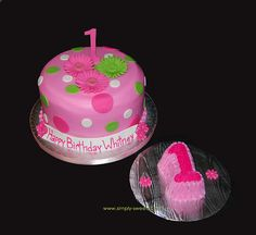 1st birthday cakes for girls | cake was inspired but a first birthday daisies and polka dots cake ...