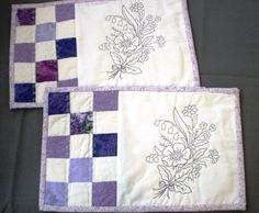 2 patchwork lilac, purple and white embroidered mugrugs. home decor, place mats, coasters, quilted snackmat by StephsQuilts on Etsy https://www.etsy.com/listing/185136937/2-patchwork-lilac-purple-and-white