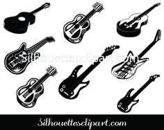 Guitar Silhouette Clip Art Pack Download Music Vectors Music Silhouette, Vector Design, Vectors, Guitar, Etsy, Guitars