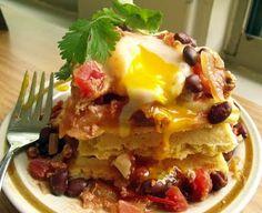 Huevos Rancheros over Jalapeno-Cheddar Waffles #egglandsbest