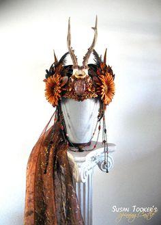 SOLD Autumn Antler Headdress Ritual Crown Bohemian Tribal Gypsy Offbeat Wedding…