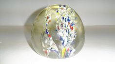 Vintage Red White Blue Yellow Paperweight Murano Style Air Bubbles #Unknown