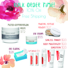 Hey! I'm placing a bulk order this weekend. This is a perfect time to grab those extra products that aren't part of your regimen or re-stock one step of your regimen you're running low on. Let me know if you want to get in on this! 10% off and free shipping